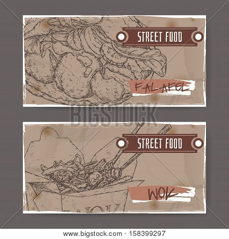 Two landscape banners with falafel and wok noodles in a box sketch on grunge background. Asian cuisine. Street food series. Great for market, restaurant, cafe, food label design.