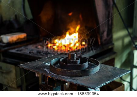 The Blacksmith Making Flames In Smithy