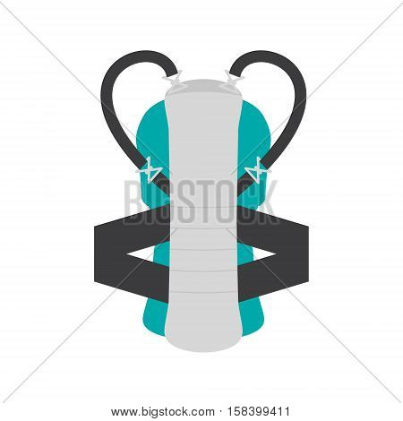 Snowboard back protection vector illustration isolated on white background. Safety equipment tool. Winter sport concept.