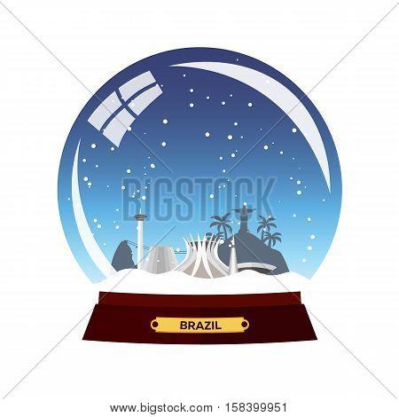 Snow Globe City. Brazil In Snow Globe. Winter Travel Vector Illustration.