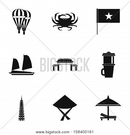 Attractions of Vietnam icons set. Simple illustration of 9 attractions of Vietnam vector icons for web