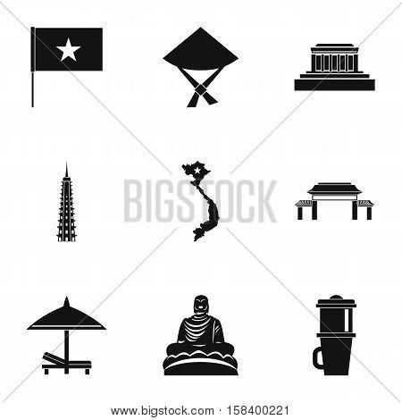 Tourism in Vietnam icons set. Simple illustration of 9 tourism in Vietnam vector icons for web