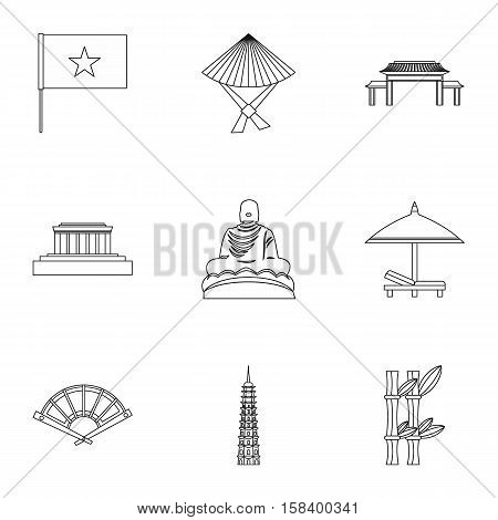Vietnam icons set. Outline illustration of 9 Vietnam vector icons for web
