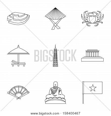 Holiday in Vietnam icons set. Outline illustration of 9 holiday in Vietnam vector icons for web