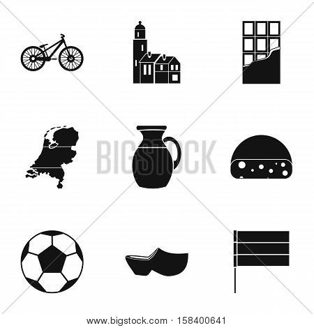 Country Holland icons set. Simple illustration of 9 country Holland vector icons for web