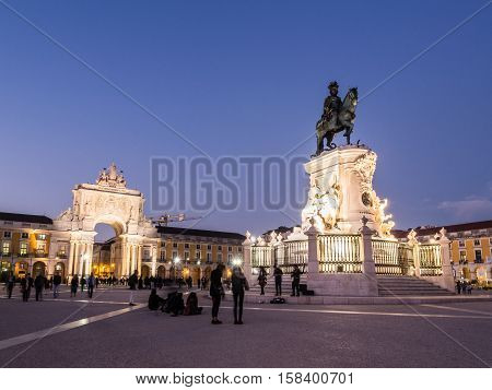 LISBON PORTUGAL - NOVEMBER 17 2016: Praca do Comercio with the statue of King Jose I in downtown of Lisbon Portugal by night.
