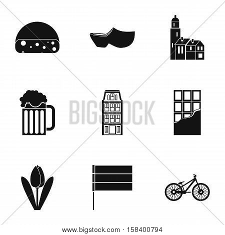 Holiday in Holland icons set. Simple illustration of 9 holiday in Holland vector icons for web