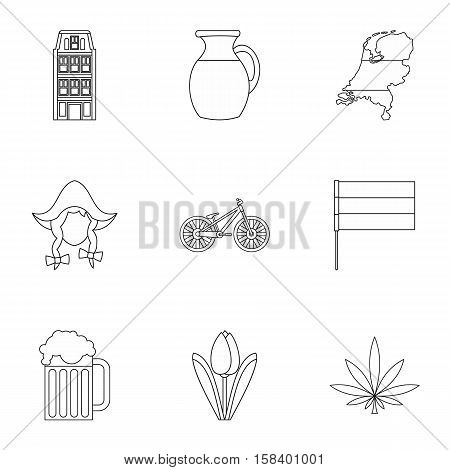 Holland icons set. Outline illustration of 9 Holland vector icons for web