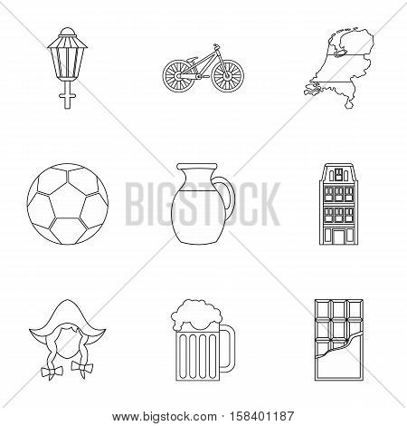 Tourism in Holland icons set. Outline illustration of 9 tourism in Holland vector icons for web