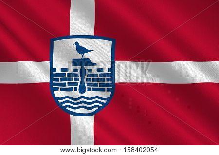 Flag of Herning in Central Jutland Region in Denmark. 3d illustration