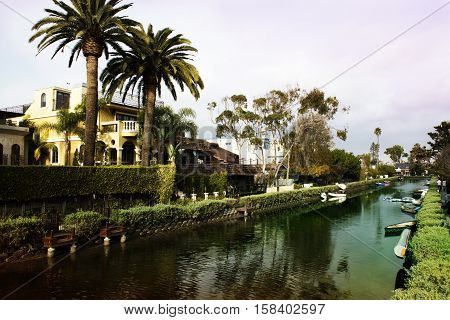 Houses on the Venice Beach Canals in California. USA