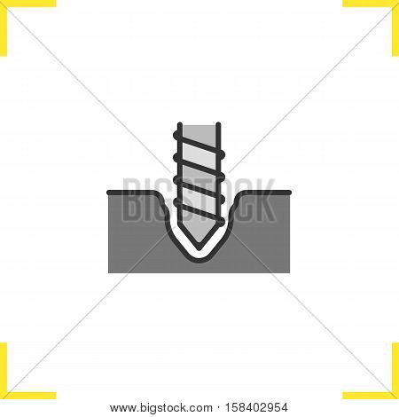 Drilling color icon. Rotating mining drill bit. Isolated vector illustration
