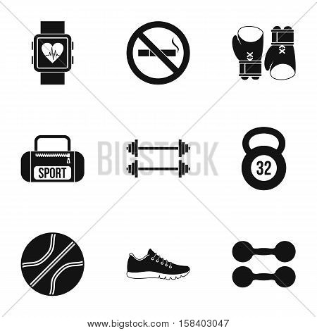 Workout icons set. Simple illustration of 9 workout vector icons for web