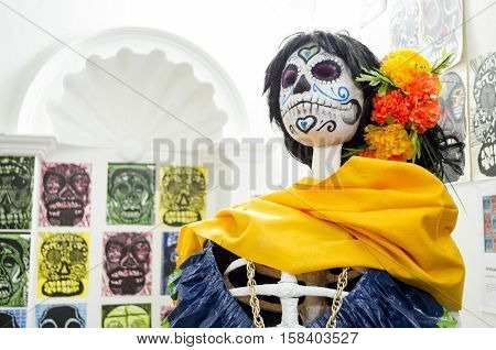 OAXACA, OAXACA, MEXICO - NOVEMBER 4, 2016: Traditional catrina. Part of a mexican day of the dead offering altar in Oaxaca, Oaxaca, Mexico