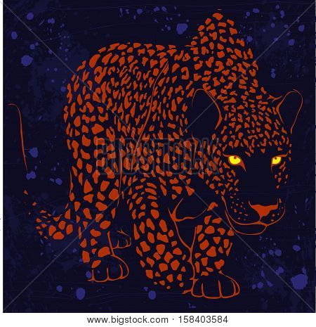 graphic design with leopard spotted coloring and eyes luminous in the night on a dark background