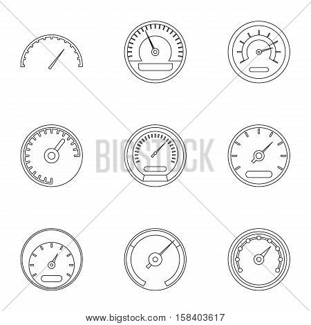Types of speedometers icons set. Outline illustration of 9 types of speedometers vector icons for web