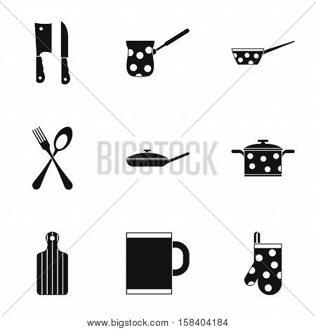 Tableware icons set. Simple illustration of 9 tableware vector icons for web