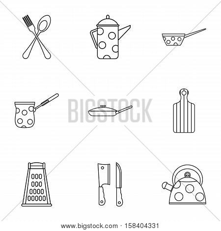 Dining items icons set. Outline illustration of 9 dining items vector icons for web