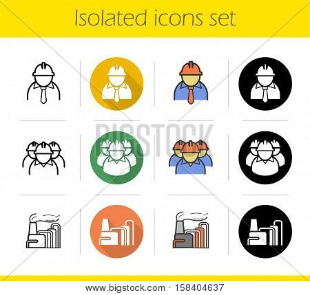 Industrial plant icons set. Flat design, linear, black and color styles. Chemical factory, chief and workers, industrial pollution symbol. Isolated vector illustrations