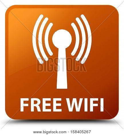 Free wifi (wlan network) brown square button