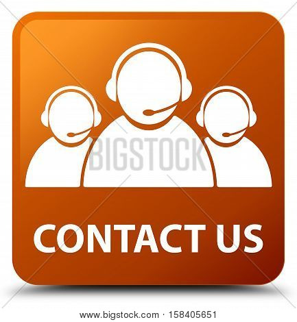 Contact us (customer care team icon) brown square button