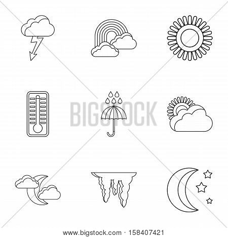 Air temperature icons set. Outline illustration of 9 air temperature vector icons for web