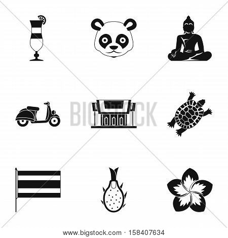 Attractions of Thailand icons set. Simple illustration of 9 attractions of Thailand vector icons for web
