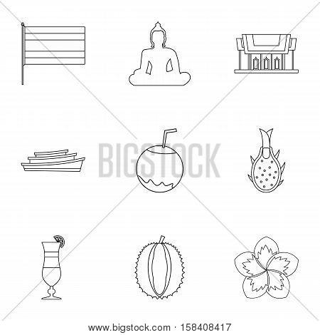 Holiday in Thailand icons set. Outline illustration of 9 holiday in Thailand vector icons for web