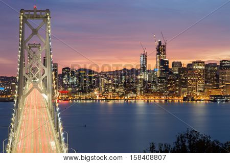 Aerial View of San Francisco-Oakland Bay Bridge and San Francisco Skyline, California, USA