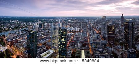 Frankfurt Panorama At Dusk