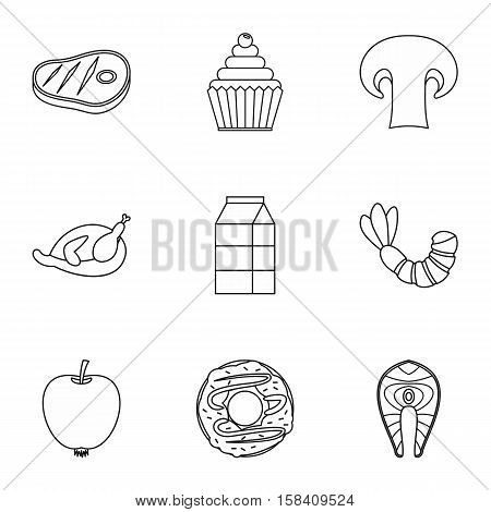 Morning breakfast icons set. Outline illustration of 9 morning breakfast vector icons for web