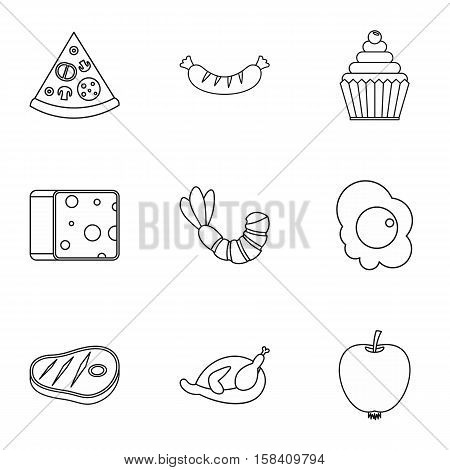 Food in morning icons set. Outline illustration of 9 food in morning vector icons for web