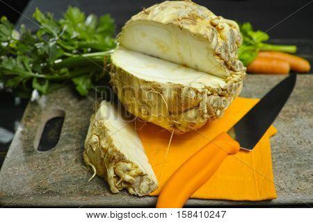 Celery root - celeriac source of vitamins fresh healthy vegetable wedge