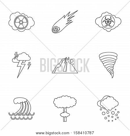 Natural cataclysm icons set. Outline illustration of 9 natural cataclysm vector icons for web