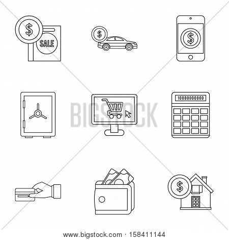 Funding icons set. Outline illustration of 9 funding vector icons for web