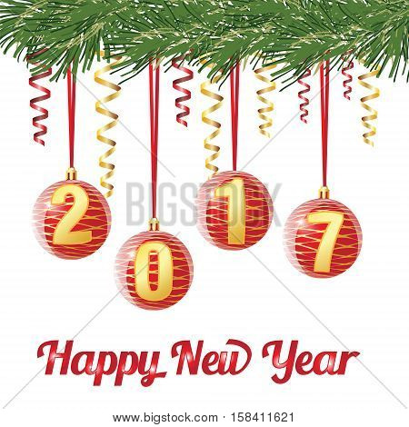 Decorative Red Christmas Balls With Digit 2017 On Ribbon, On Conifer Branch On White Background, Vec