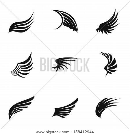 Different wings icons set. Simple illustration of 9 different wings vector icons for web