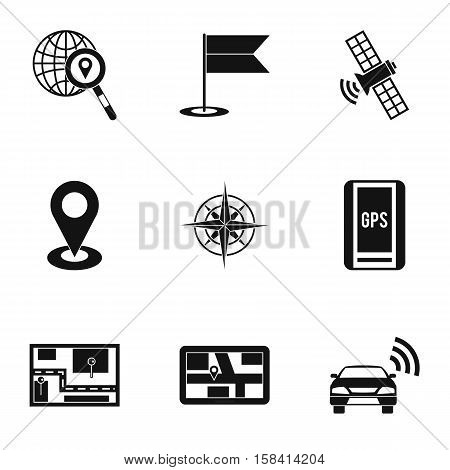 Location icons set. Simple illustration of 9 location vector icons for web