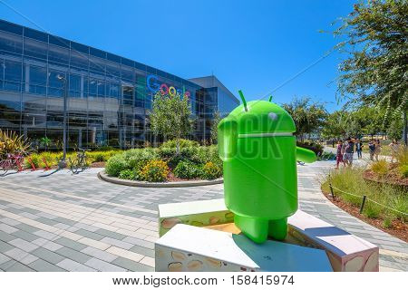 Mountain View, California, USA - August 15, 2016: Android Nougat replica in front of Google headquarters building.