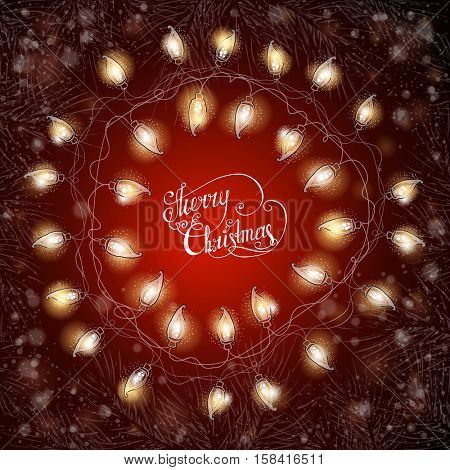 Christmas frame with fir-tree branches and luminous electric garland. Vintage Holiday background. Vector illustration.