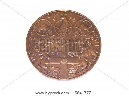 Melbourne 1956 Olympic Games Participation Medal, Obverse. Kouvola, Finland 06.09.2016.