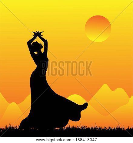 vector illustration -  flamenco dancer silhouette in the sunset
