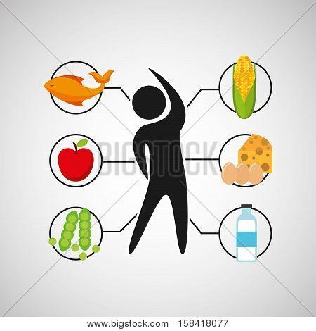sport man nutrition health vector illustration eps 10