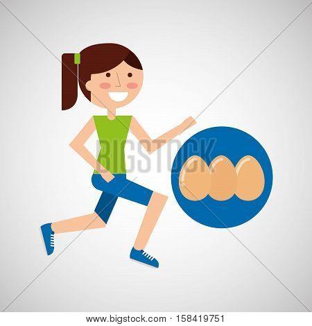 girl jogger eggs healthy lifestyle vector illustration eps 10