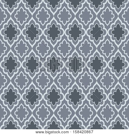 Seamless dark grey oriental vector pattern.