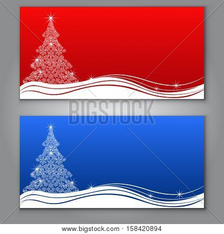 Red and blue Christmas tree cards with copy space vector template.