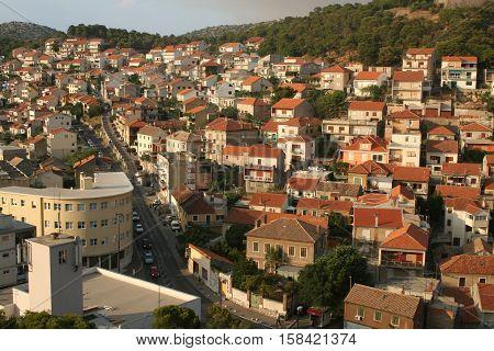 Sibenik / Tourist city by the Adratic sea - Sibenik, Croatia. The old stones, narrow street and stairs.