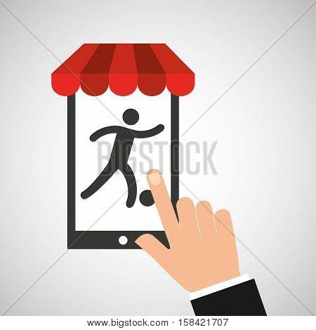 mobile phone silhouette sportman soccer vector illustration eps 10