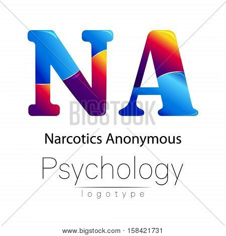 Modern logo of Psychology. Creative style. Logotype in vector. Design concept. Brand company. Blue and red color letter A on white background. Symbol narcotics anonymous. Card, flyer, web