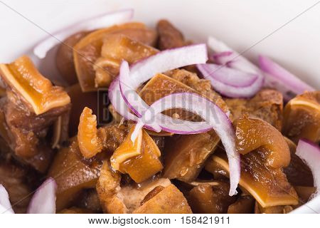tokwa't baboy (famous delicacy in the Philippines) or pig ears and tofu in sweet soy sauce and vinegar sauce